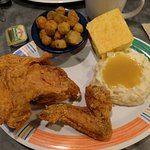 Fried chicken, okra, mashed potatoes and corn bread. Yum!