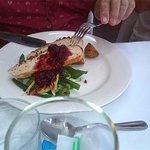 ham & pistachio turkey breast, potatoes, green bean & asparagus salad, cranberry vermouth sauce