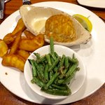 The Baby Bomb with steamed beans and french fries as sides