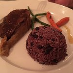 Beef wellington with black beans & rice