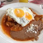 Chilaquiles with two fried eggs