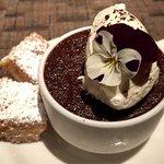 January 2017 menu items. Dark chocolate custard with espresso whipped cream and shortbread. Duck