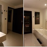 rain shower in open top area behind this bath room
