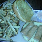 Chicken hot dog and fries (sorry for the poor quality picture)