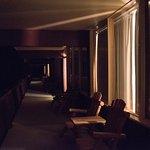 The main balcony / motel throughway at night