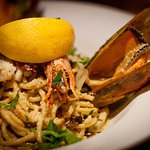 Seafood Linguini with pesto and parmesan