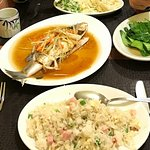 Fried rice, vegetables and steamed fish