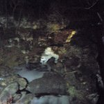 The falls at night behind the Hawley Silk Mill at Harmony Presents