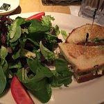 chicken salad sandwich and green salad
