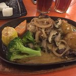 chicken steak, mushroom sauce, my younger girl choice