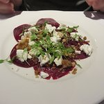 goats cheese and beetroot with walnut