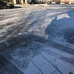 This is what the parking lot looked like the Sunday after the snow came in over the weekend. Tot