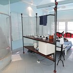 Shower and kitchenette