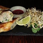 Crab and chilli pancakes
