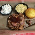 BBQ Pulled Pork, Mac and Cheese, Coleslaw and Corn Bread