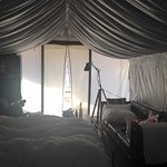 Cozy safari tent with 2 queen beds