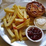 Chicken satay pie and fries