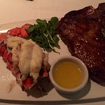 Porterhouse with a lobster tail.