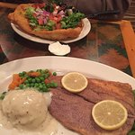 Dining room features local specialities such as frybread and trout with blue corn meal.