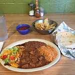 Carne guisada and cheese enchilada are a great combination.