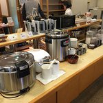 viking: natto, dried seaweed, rice, miso soup,  milk and juices and water, toaster , rolls