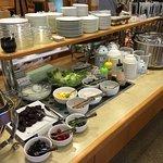 viking:fruit bowl, yogurt, salad,corn, tuna, other salad things, salad dressings, japanese pickl