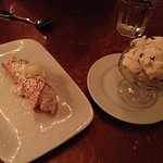 Canoli and spumoni ice cream