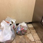 Housekeeping throws all of the smelly trash in the elevator and leaves it there while they clean