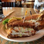 Grouper Reuben with coleslaw. Wonderful taste combination!