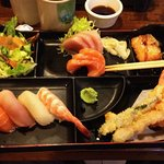 Tuna & Salmon Sashimi and sushi bento box