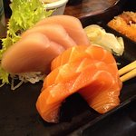 Tuna and salmon sashimi - part of sashimi and sushi bento box