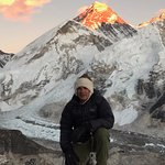 Watching the sunset on Mount Everest from the summit of Kala Pattar.