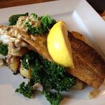 Lovely tender game casserole and panfried cod on a bed of kale and sautéed potatoes - very tasty