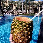 Pineapple drinks by the calm pool!