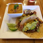 Caribbean Jerk Chicken tacos with Jalapeno Sweet Potato soup.