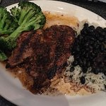 Char grilled Jamaican jerk chicken platter. Ask for the mango salsa and cilantro lime sour cream