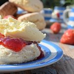 Homemade fruit scone served with cream and preserve