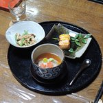 Renkon-Mushi, Green Beans with Sesame Dressing, Yuan Yaki (Grilled Marinated Fish)