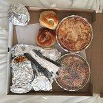 Ziti, spaghetti and meatballs, seasoned fries, soup, bread