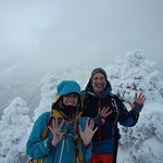 Susan and I on top of Hough Peak- dreaming of the warmth and hospitality at the Schroon Lake B&B