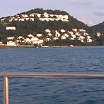 view of resort from our sunset cruise