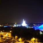 theme park view at night from balcony