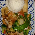Stir fried seafood with vegetables