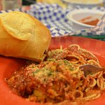This Eggplant Parmigana with spaghetti was too much to eat at one sitting!