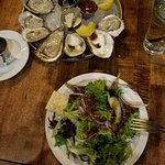 Spring Greens Salad and Oysters on the Half Shell