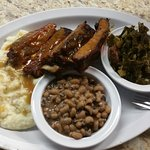 Ribs, Mash Potatoes/Gravy, Black-Eyed Peas, Collards