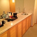 Wet bar area with fridge