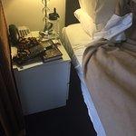 bedside table shoved in sideways