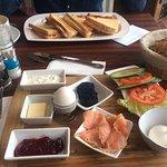 Salmon Breakfast and sandwich