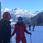 Julia and Lewis skiing in Engelberg with Wayne